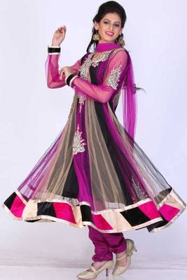 Black and Red-violet Net Embroidered Festival Anarkali salwar Kameez