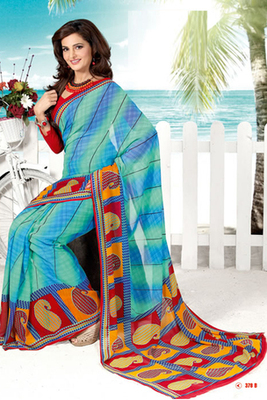 Monica Bedi Blue Georgette Printed Saree