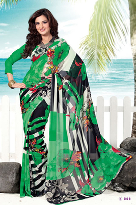 Monica Bedi Green Georgette Printed Saree