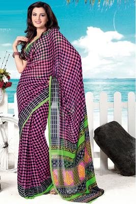 Monica Bedi Pink Georgette Printed Saree