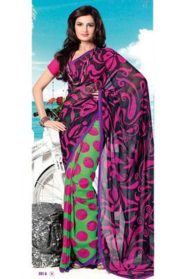 Monica Bedi Black Georgette Printed Saree