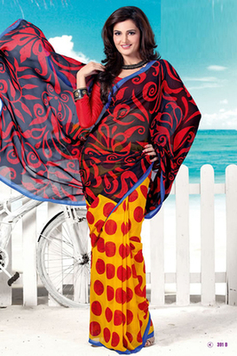 Monica Bedi Red Georgette Printed Saree