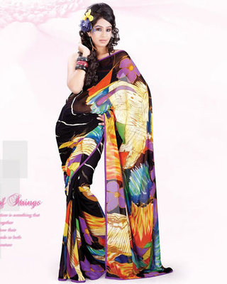 Casual Wear Georgette Floral Print Saree