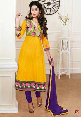 Yellow color designer semi stitched embroidered anarkali suit