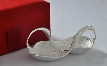 Silver polish double duck shape brass mouth freshener deepawali gift with box n 2 spoons