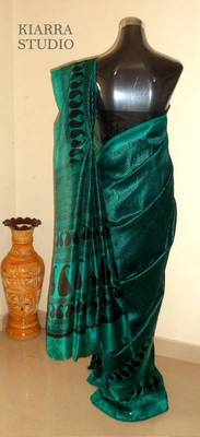 Elegant tussar semi silk royal green saree with black block prints