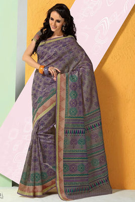 Printed Cotton Saree with Blouse