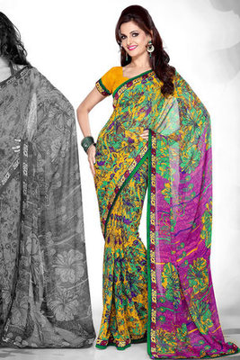 Monica Bedi Georgette Printed Saree