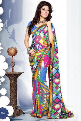 Monica Bedi Georgette Printed Saree