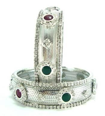 Silver ruby emerald cz party wear 2pc bangle l8869