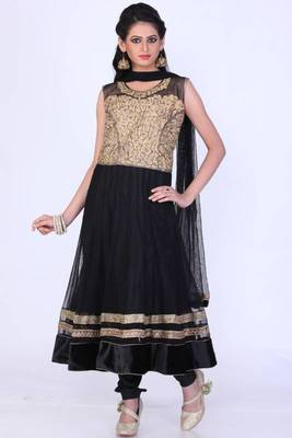 Black Net Embroidered Party and Festival Anarkali salwar Kameez