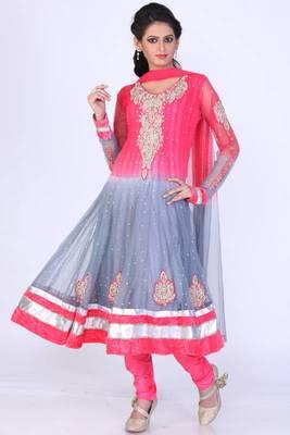 Brink Pink and Light Slate Gray Net Embroidered Anarkali salwar Kameez