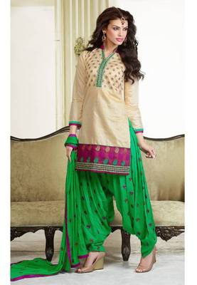 Beige and Green chanderi cotton patiyala patiala salwar kameez unstitched designer suit party wear indian