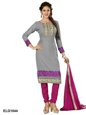 Riti Riwaz Georgette  Fabric  With Un-Stitch Dupatta  grey Color 1044