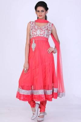Coral Red Net Embroidered Party and Festival Anarkali salwar Kameez