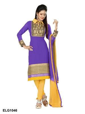 Riti Riwaz Georgette  Fabric  With Un-Stitch Dupatta  Purple Color ELG1046