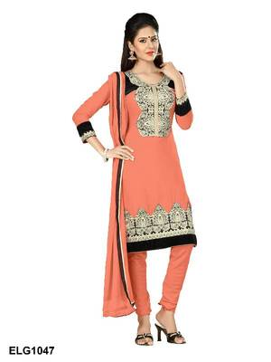 Riti Riwaz Georgette  Fabric  With Un-Stitch Dupatta  Orange Color ELG1047