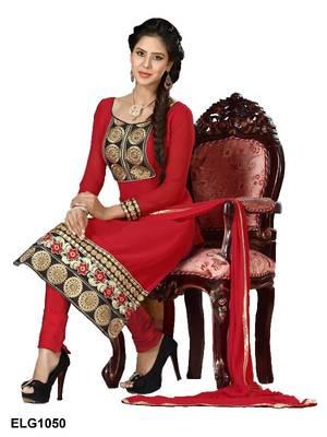 Riti Riwaz Georgette  Fabric  With Un-Stitch Dupatta  Red Color ELG1050