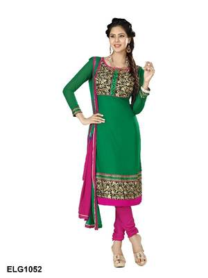 Riti Riwaz Georgette  Fabric  With Un-Stitch Dupatta  Green Color ELG1052