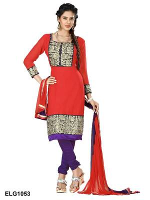 Riti Riwaz Georgette  Fabric  With Un-Stitch Dupatta  Red Color ELG1053