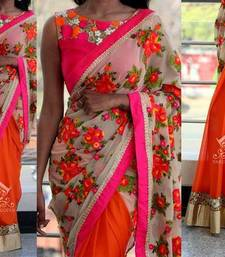 Buy georgette saree by kmozi (Pink) Woman online