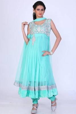 Cyan Blue Net Embroidered Party and Festival Anarkali salwar Kameez