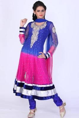 Dark Blue and Cerise Pink Net Embroidered Festival Anarkali salwar Kameez
