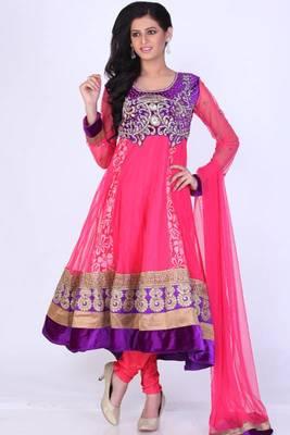 Deep Cerise Pink Net Embroidered Party and Festival Anarkali salwar Kameez