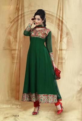 Riti Riwaz Georgette  Fabric  With Un-Stitch Dupatta  Green Color SG1034