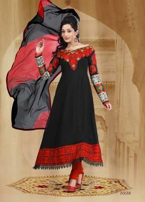 Riti Riwaz Georgette  Fabric  With Un-Stitch Dupatta  Black Color SG1038