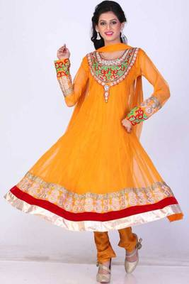 Gamboge Yellow Net Embroidered Party and Festival Anarkali salwar Kameez