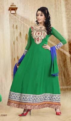 Riti Riwaz Georgette  Fabric  With Un-Stitch Dupatta  Green Color SG1040