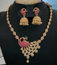 Buy Georgeous high gold plated peacock necklace set south-indian-jewellery online