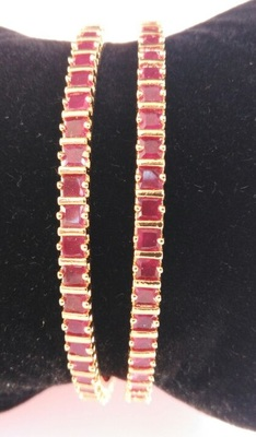 Georgeous  Gold Plated Ruby Bangles