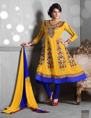 Riti Riwaz Georgette  Fabric  With Un-Stitch Dupatta  yellow Color MB1020
