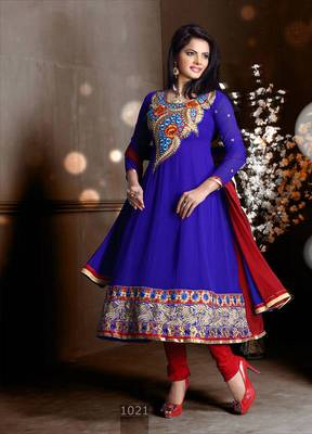 Riti Riwaz Georgette  Fabric  With Un-Stitch Dupatta  blue Color MB1021
