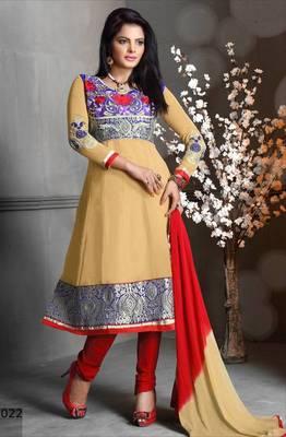 Riti Riwaz Georgette  Fabric  With Un-Stitch Dupatta  Beige Color MB1022