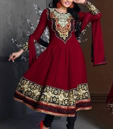 Buy Riti Riwaz Georgette  Fabric  With Un-Stitch Dupatta  Maroon Color MB1023 dress-material online