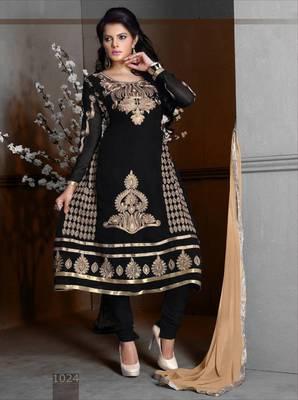 Riti Riwaz Georgette  Fabric  With Un-Stitch Dupatta  Black Color MB1024