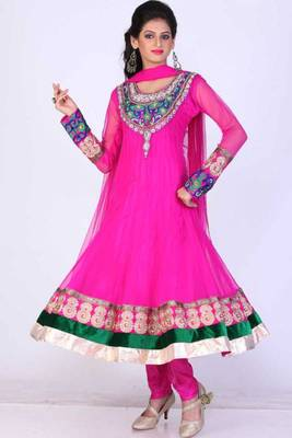 Hot Magenta Net Embroidered Party and Festival Anarkali Salwar Kameez