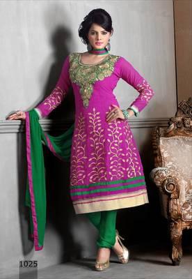 Riti Riwaz Georgette  Fabric  With Un-Stitch Dupatta  Pink Color MB1025