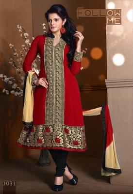 Riti Riwaz Georgette  Fabric  With Un-Stitch Dupatta  Red Color MB1031