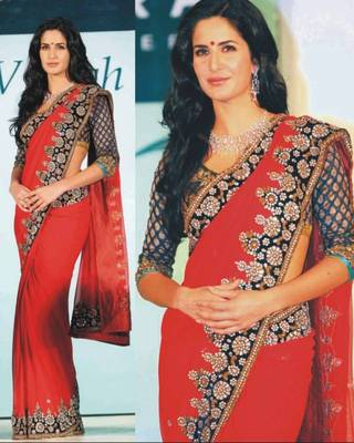Katrina Kaif Viscose Seuins work Bollywood Style Saree