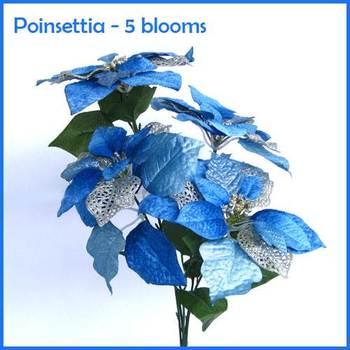 Poinsettia Bunch Blue - Bunch of 5 flowers