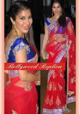 Sofia Net Seqins work Bollywood style saree