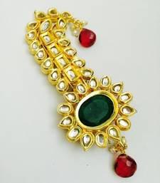 Buy emerald golden kundan work kalangi hair-accessory online
