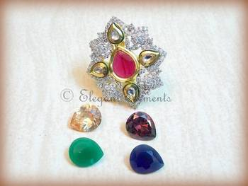 New Fusion art, kundan and ad stud changeble stone ring