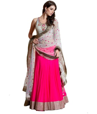Multicolor embroidered georgette unstitched ethnic lehengas