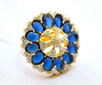 Floral Sapphire Burst Ring
