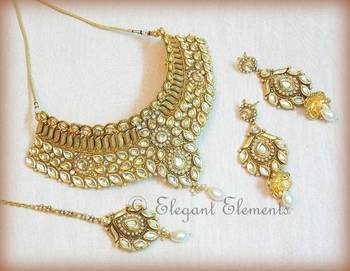 Bridal kundan collar necklace earring set(4 pc.)